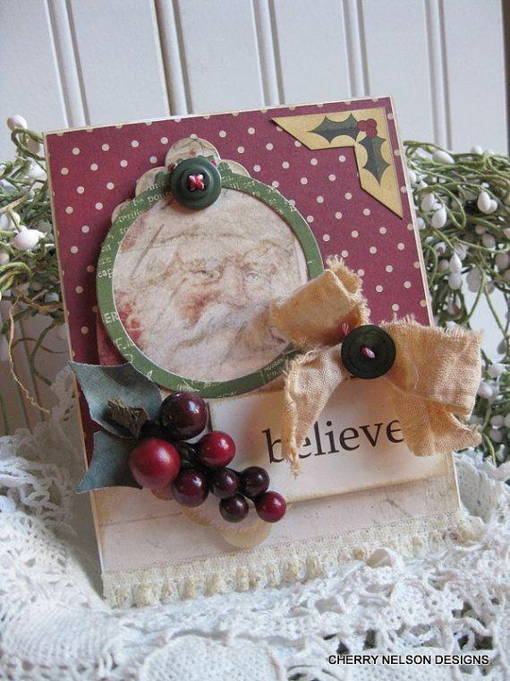 Primitive Santa Karte-Weihnachten alte Welt Santa glauben handgemachte Karte                                                                                                                                                                                 Mehr