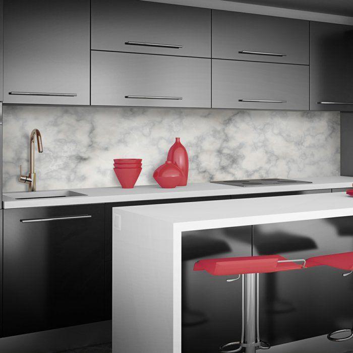 wandpaneele küche rote akzente graue kücheneinrichtung