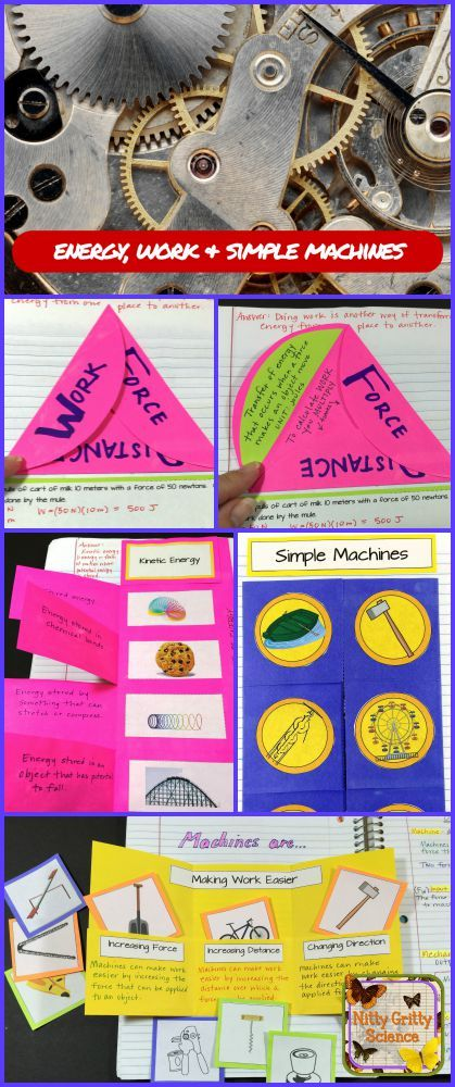 Physical Science Interactive Notebooks: Energy, Work & Simple Machines feature Teacher Input notes, Student Output activities, mini-quizzes and answer keys!!