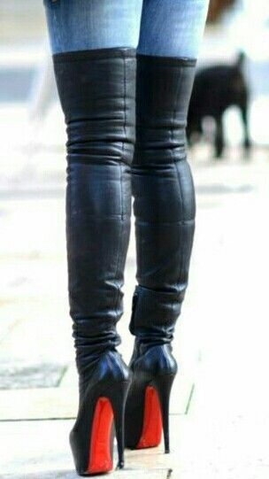 2d310bc6cf13a4 Christian Louboutin Thigh High Plateau Boots in black leather and stiletto  heels.