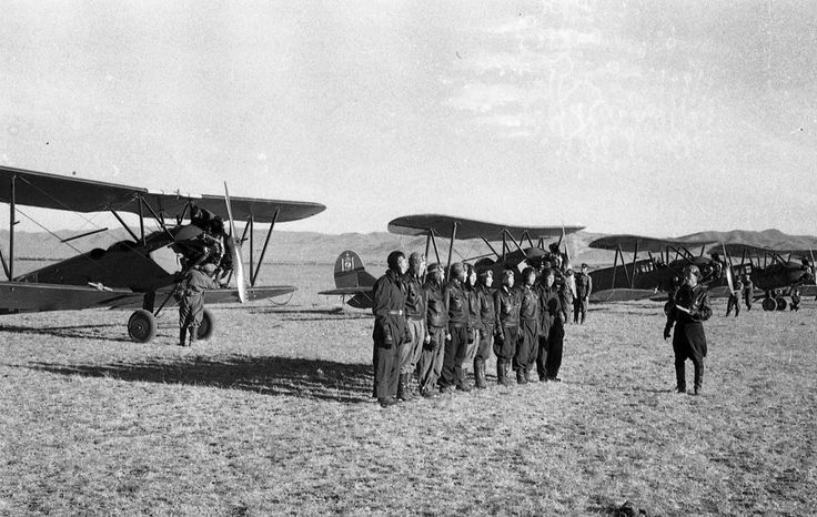 Fighter pilots [1930s-1940s].Mongolian People's Army Aviation.