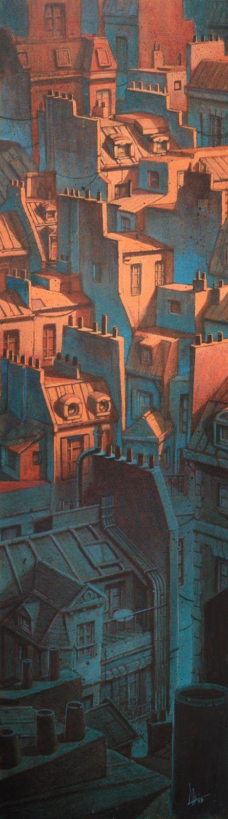 vertical / orange / bleu / ville / urbain / toits / crépuscule / trait / composition / couleur / éclairage