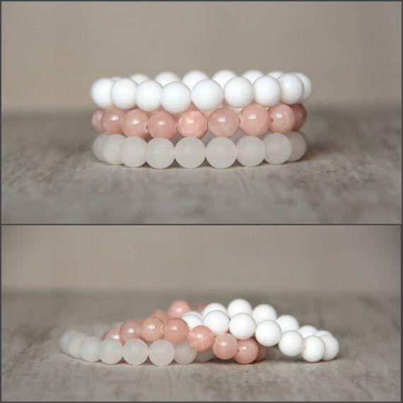 Set of 3 bracelet Pastel bracelet Apricot by AllAboutHandmade1