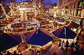 Christmas market in Budapest  At the end of November Vörösmarty Square turns into a festive market place.