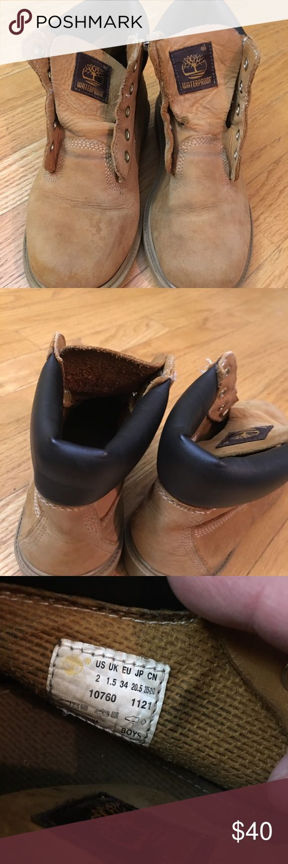 Boys Timberlands waterproof Wear and tear but with a little TLC will be cute on your little one.   Will send a few pairs of laces.  Original laces are gone. Timberland Shoes Boots