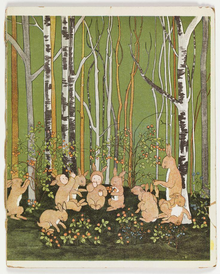 "Sibylle von Olfers, book illustration ""Rabbits and Babies eating Berries"", 1900-1920. Via Cooper Hewitt"