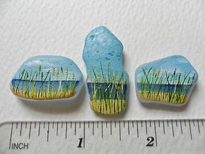 Beach grass - Set of 3 sea glass paintings - Original acrylic artwork | eBay