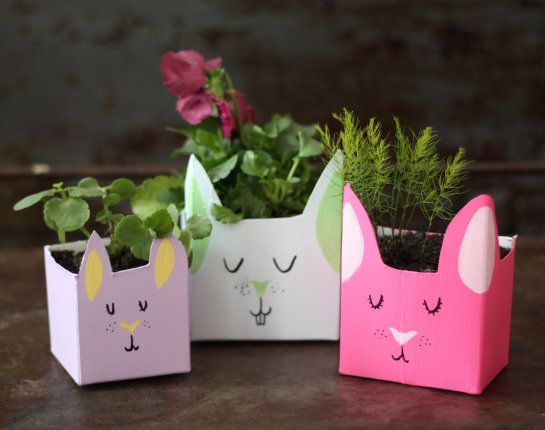 bunny planters from recycled milk cartons.