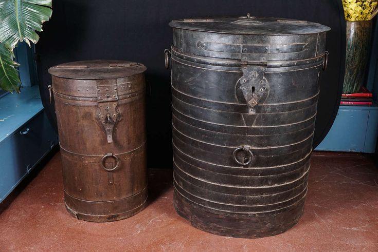 Midcentury Iron Industrial Storage Container -circa 1950 India HEIGHT:4 ft. 3 in. (130 cm) DIAMETER:20 in. (51 cm)