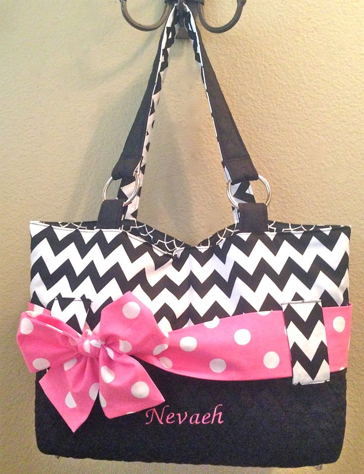 personalized diaper bag in black white chevron print by ceejaze kiddos pinterest. Black Bedroom Furniture Sets. Home Design Ideas