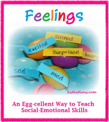 An egg-cellent way to teach social-emotional skills!  #feelings #ece #preschool #earlyed  To make it easier for YOUNG children, put pictures of the feelings face in the egg along with the written feeling!