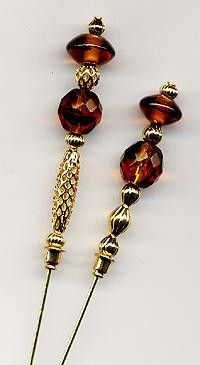 Tortoise and Brown Disc Bead 6 inch Hatpins (Hat Pins)