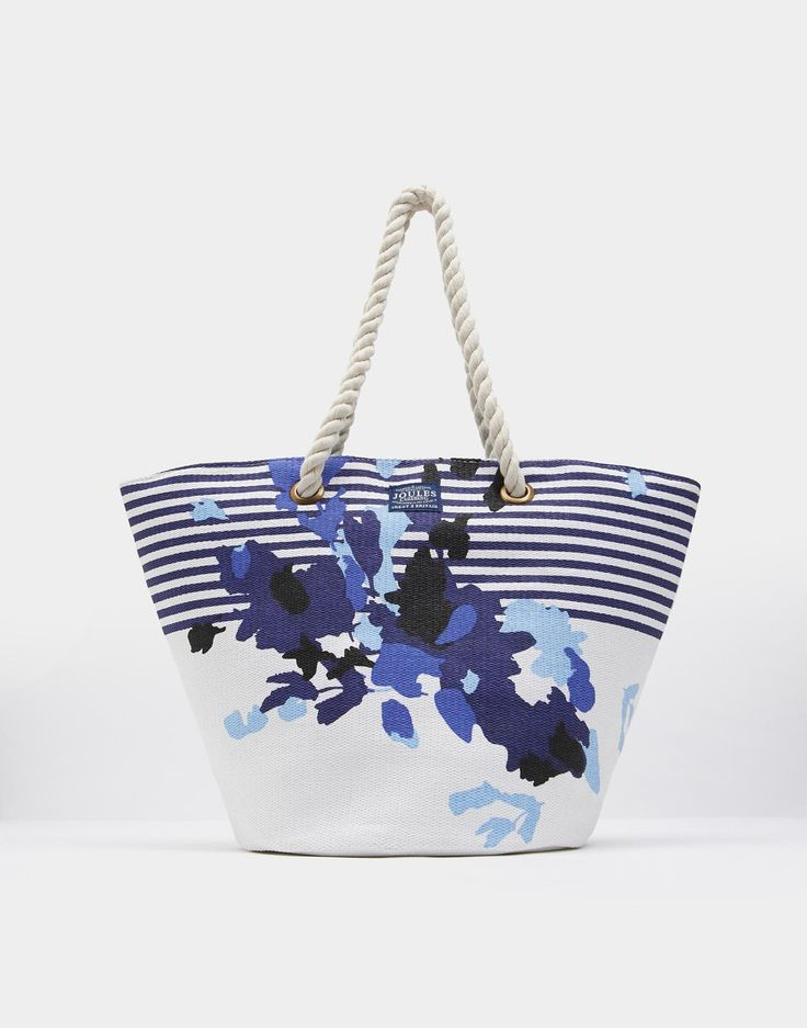 Summer Bright White Floral Stripe Beach Bag , Size One Size | Joules UK