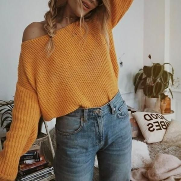 Solid Color Large Size Women's Sweater 13