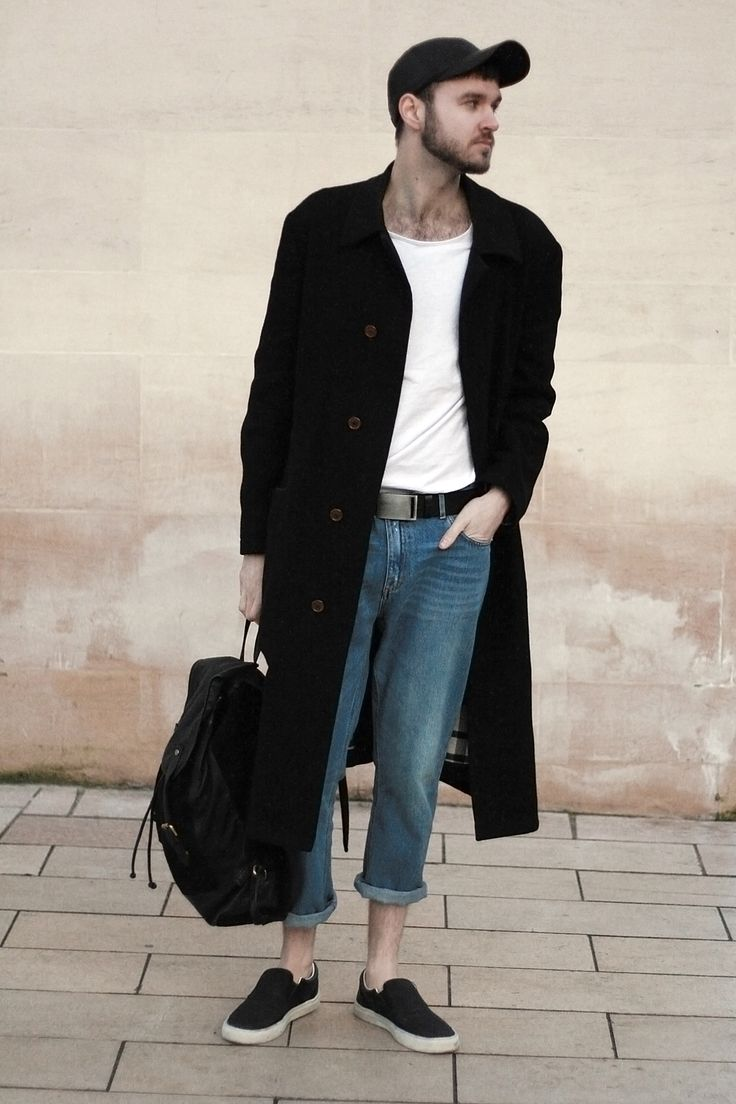 Black t shirt blue jeans - Men S Black Overcoat White Crew Neck T Shirt Blue Jeans Black Slip On Sneakers