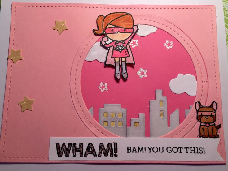 I used the Mama Elephant Tiny Heroes  to make this card.