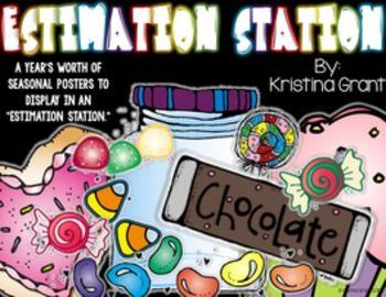 """Use these seasonal posters in an """"estimation station"""" to help display student's predictions of the estimation jar. August - June posters are included in this packet!Thanks so much!Kristina GrantThe Kristina Grant blog"""