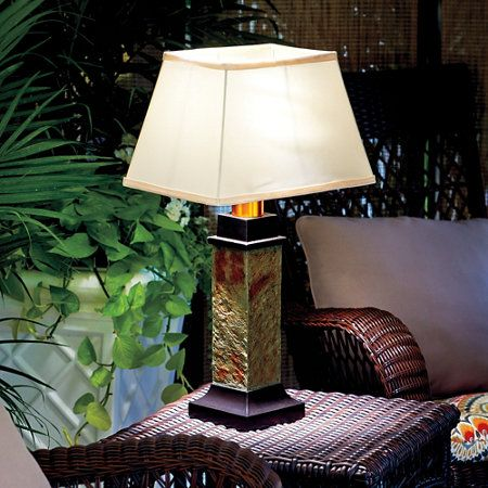 Faux Slate Outdoor Battery Operated Table Lamp