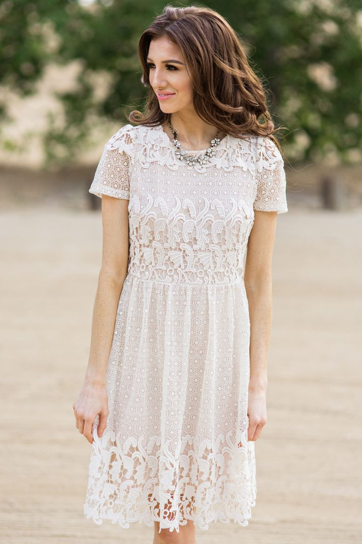 Cream lace dress outfit images for Cream colored lace wedding dresses