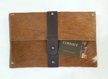 "Brown cow hide ""Mary"" clutch. Internal pocket. 18 cm x 28 cm. By Convict Bags."