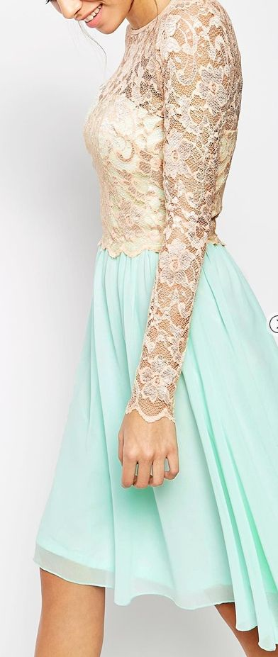 long sleeve lace dress. Maybe the bottom could be a different color. Wedding dress?