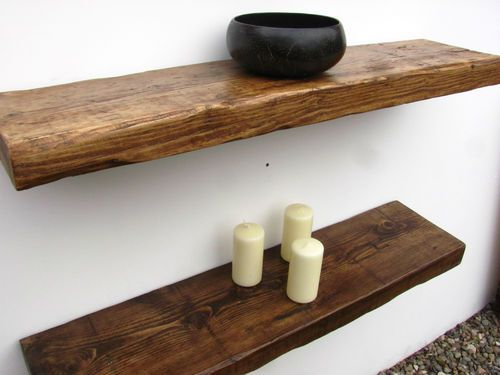 RECLAIMED CHUNKY FLOATING SHELF SHELVES WOODEN . | eBay I would like these please