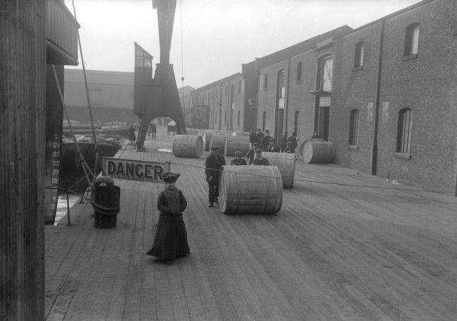 Unloading tobacco at the Royal Victoria Docks c.1900.