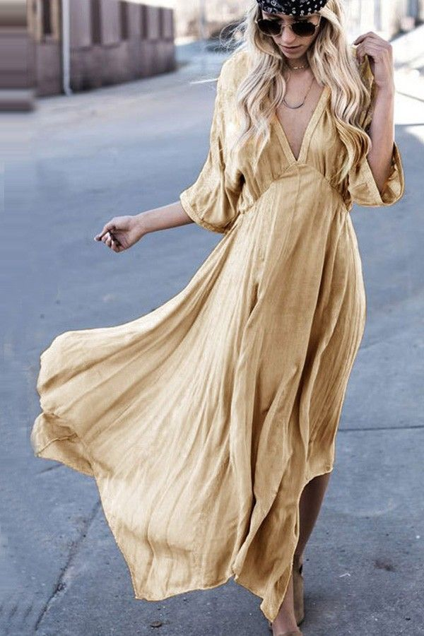 Apricot Plunging V Neck Asymmetrical Casual Boho Dress @ Casual Dresses,Women Casual Dresses,Cheap Casual Dresses,Cute Casual Dresses,Casual Dresses for Juniors,Womens Casual Dresses,Casual Summer Dresses,Casual Maxi Dresses,Long Casual Dresses,Short Casual Dresses,White Casual Dresses,Sexy Casual Dresses #cutejuniorsclothescheap