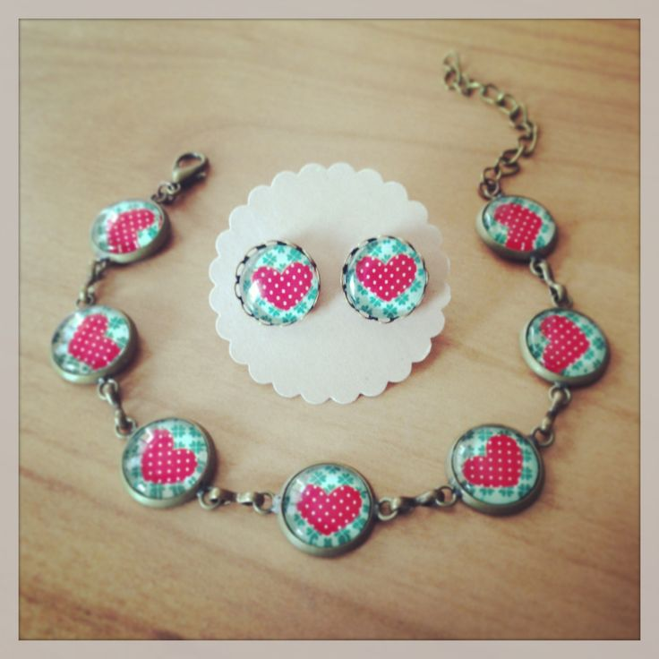 Earrings & bracelet with heart https://www.facebook.com/pages/Leleganza-di-Zia-Lidia/382862588461356