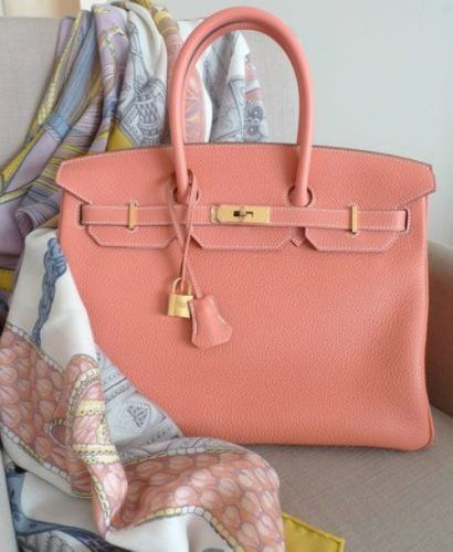 peach hermes birkin- Hermes handbags collection http://www.justtrendygirls.com/hermes-handbags-collection/