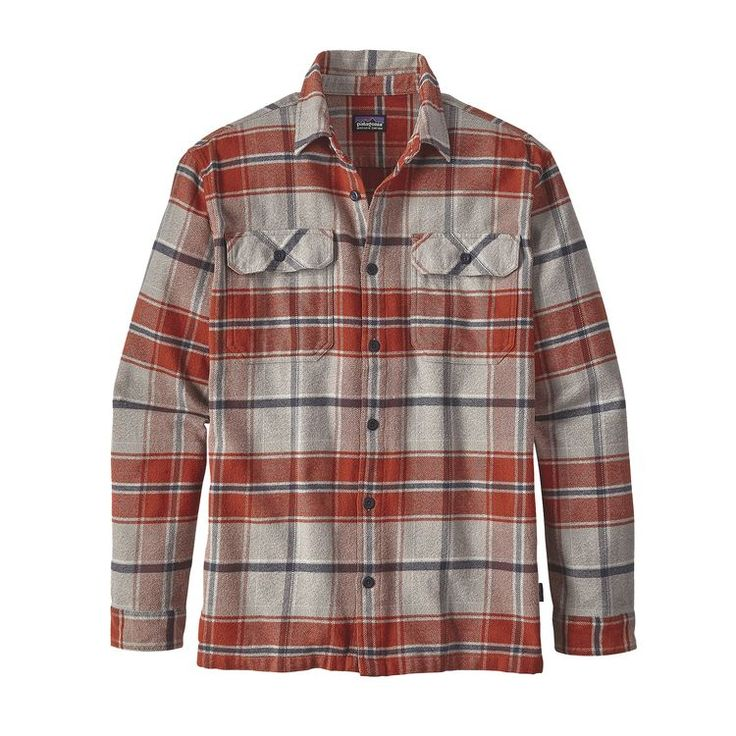M's Long-Sleeved Fjord Flannel Shirt, Buckstop Plaid: Roots Red (BKSR)