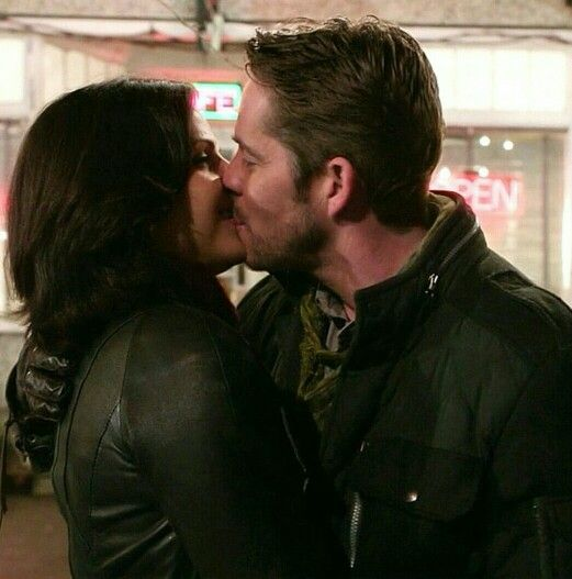 These two are so cute together! They are smiling while kissing! #outlawqueen #EvilRegals #ouat