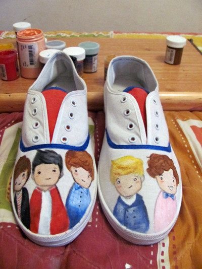 One Direction Custom Painted shoes by CMBreverie on Etsy