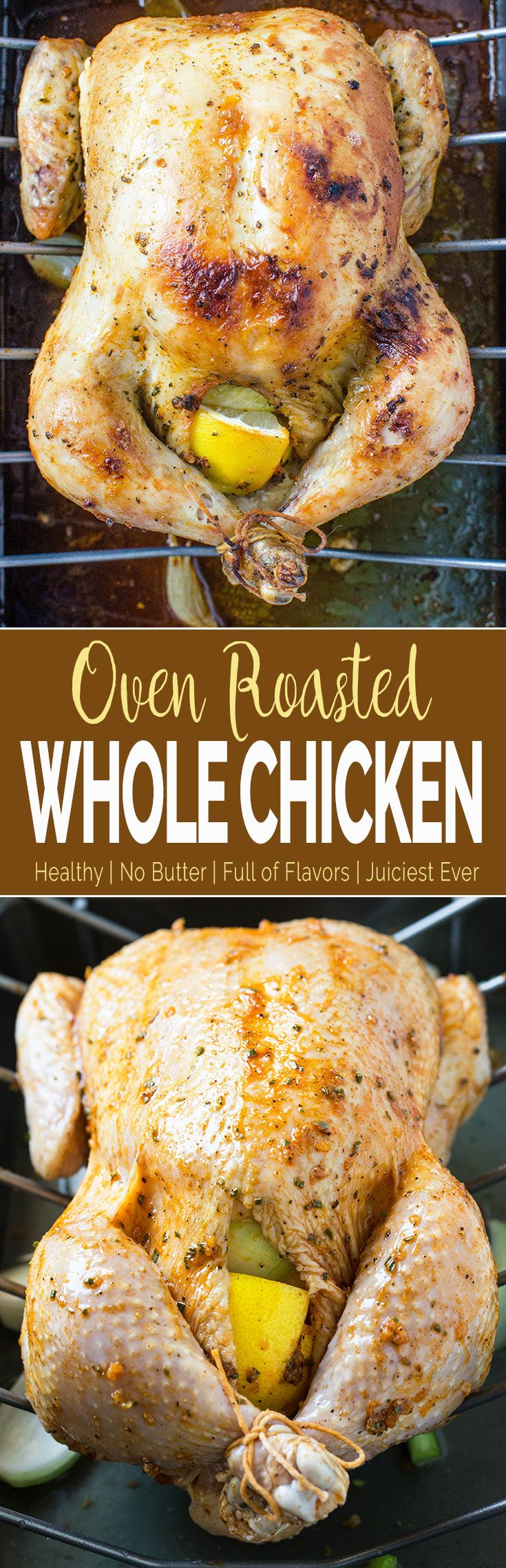 Learn to make perfect super juicy garlic & herb roasted whole chicken in the oven. Quick preparation & tons of flavors with delicious gravy prepared using pan drippings. #chicken #thanksgiving #healthyrecipes  via @watchwhatueat