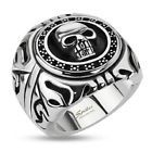 Harley Biker Skull Shield Ring 316L Stainless Steel Jewelry R101