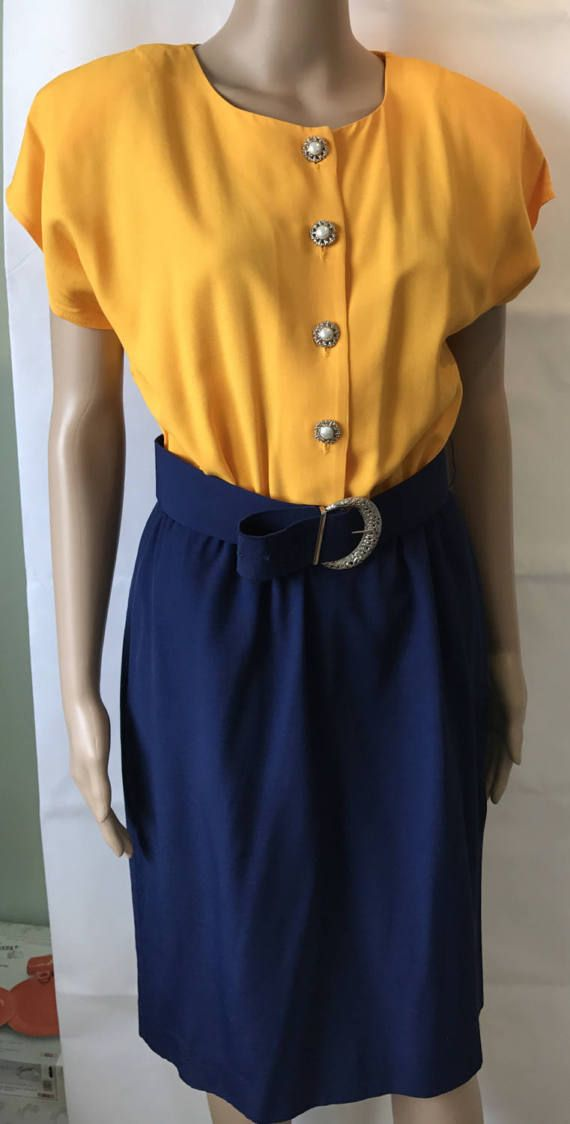 Vintage Ladies Dress Yellow & Navy Blue Retro Career by LyndiLane