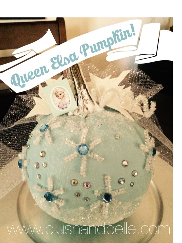 Queen Elsa Pumpkin! We made this for my daughters class project.  Used basic teal paint, white glitter pipe cleaners, various jewels and gems, modge podge, and white glitter. Pumpkin is real and I used both hot glue gun and E6000 glue to glue gems on. Use a piece of glitter tulle for the cape. I overlapped the tulle on a white pipe cleaner and then glued it to the back of the pumpkin.  All craft items can be purchased at Michaels. Happy halloween!