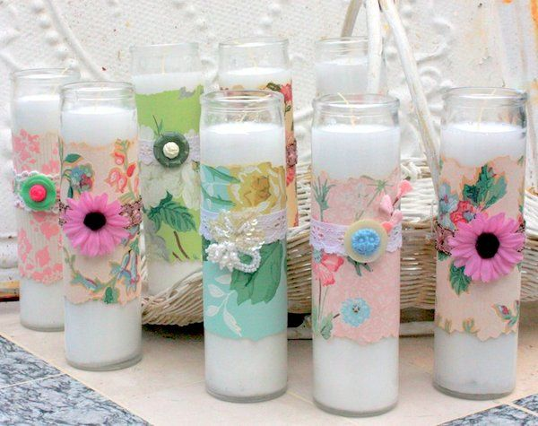 Mitzi used beautiful vintage wallpaper from her collection to decoupage budget candles. This unique dollar store craft is a must try!