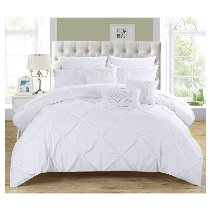 Valentina Pinch Pleated Ruffled Comforter Set 10 Piece King White Chic Home