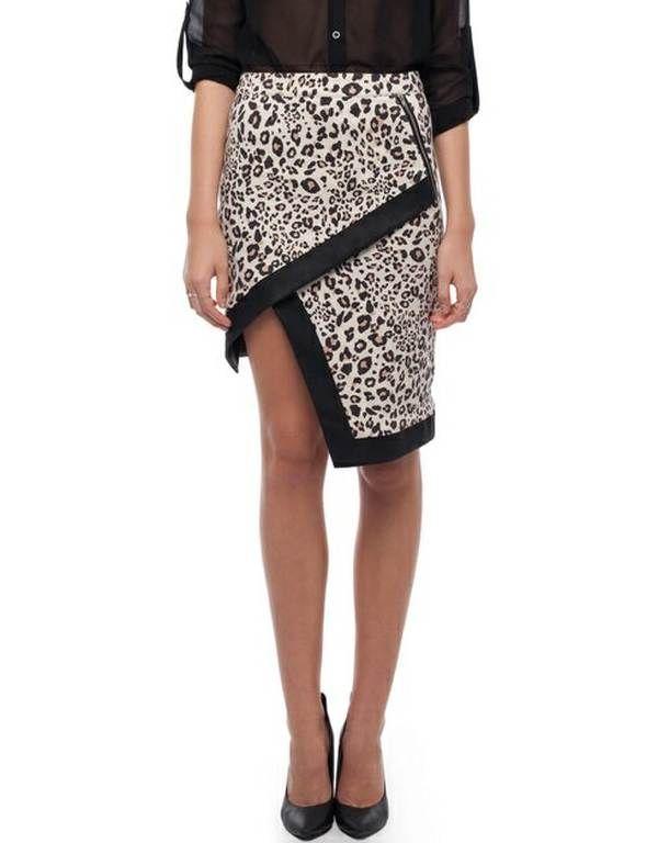 Bebe Sydney Moss Asymmetric Leopard Skirt Skort - $120.00