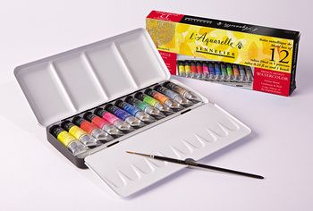 classic watercolour boxes 6 half pans competition set + 6 empty compartments  Code: N131608  12 half pans metal Pocket box  Code: N131605  12 half pans metal box + 12 empty compartments  Code: N131613  24 half pans metal box + 1 brush  Code: N131606  48 half pans metal box + 1 brush  Code: N131607  14 full pans metal box + 1 brush  Code: N131615  12 tubes 10ml-0.33 fl oz metal box + 1 brush  Code: N131611