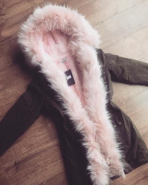 'Valencia' Khaki Parka with Pink Faux-Fur Hood & Lining