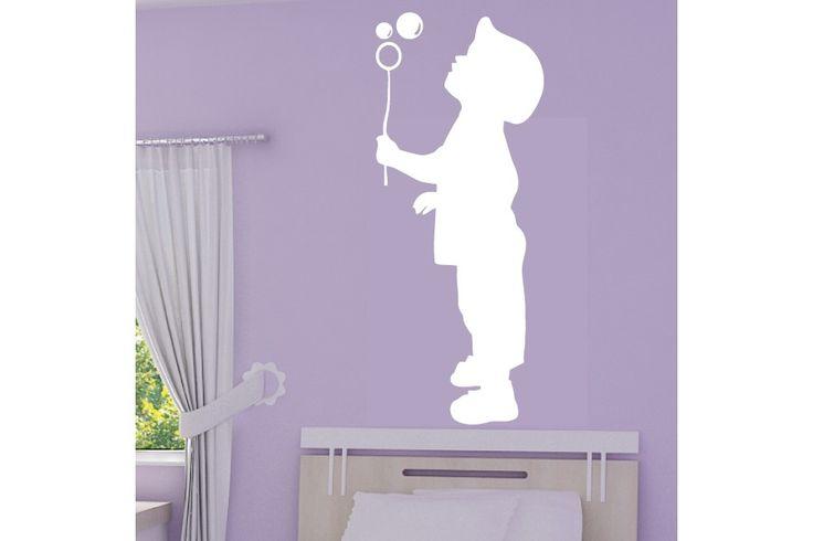 image enfant qui souffle   Sticker Silhouette Enfant qui souffle un bulle de savon