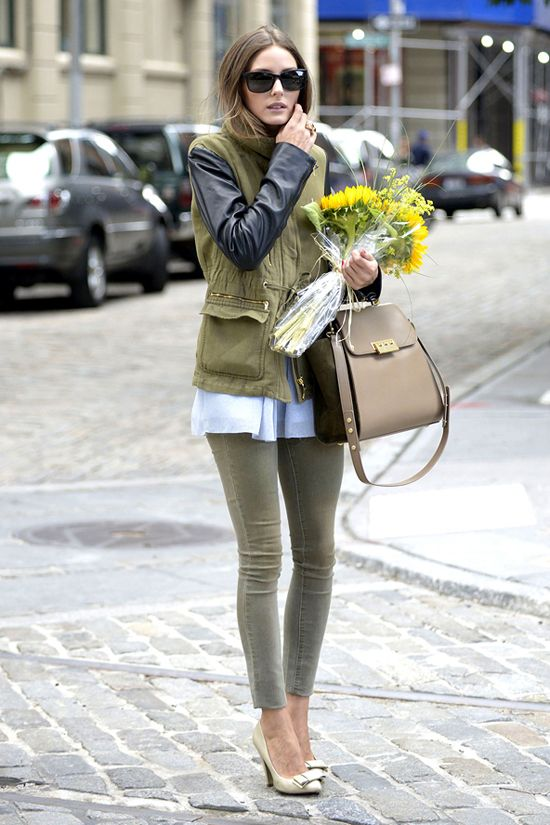 :: OP ::: Green Jeans, Oliviapalermo, Leather Sleeve, Street Style, Outfit, Jackets, Olivia Palermo, Military Chic, Olive