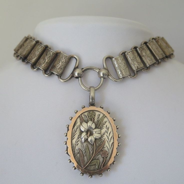 Antique Victorian Sterling Silver Gold Bookchain Book Chain Locket Necklace