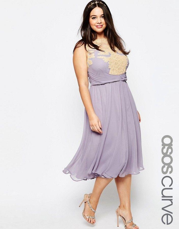 ASOS Curve ASOS CURVE WEDDING Midi Dress with Lace Applique, Wedding Dresses Hochzeitskleider Schuhe Atemberaubende Kleider für Deine Hochzeit. Amazing plussize wedding dresses. Be a beautyful bride.