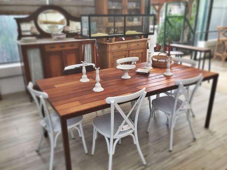 Mesa teka madera  sillas aluminio blanco trosset renova