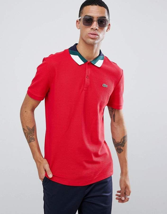 350f514737fc0 Lacoste color block collar polo in red