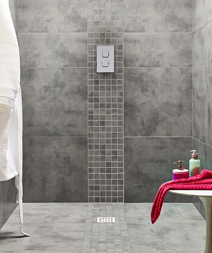 Dark grey walls. Light grey floor. mosaic tiles  Zamora™ Grey Wall and Floor Tile 29.5x59.5cm | Topps Tiles