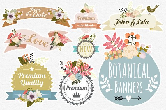Botanical Banners. VECTOR Files Floral Digital by MrCatAvenue